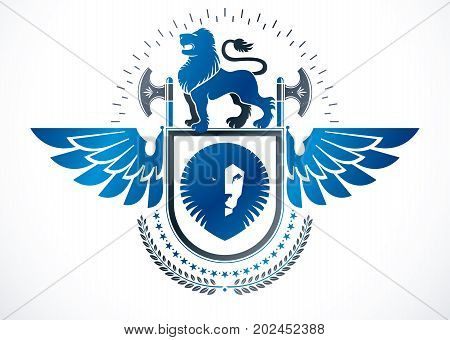 Heraldic Coat of Arms decorative winged emblem isolated vector illustration created using wild lions pentagonal stars and hatchets.