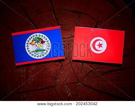 Belize Flag With Tunisian Flag On A Tree Stump Isolated