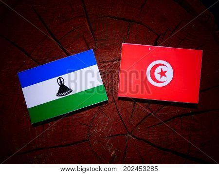 Lesotho Flag With Tunisian Flag On A Tree Stump Isolated
