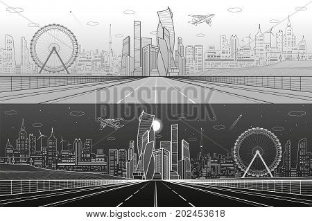 Wide highway. Urban infrastructure illustration panorama, futuristic city on background, modern architecture, ferris wheel. Airplane fly. White and gray lines, day and night scene, vector design art