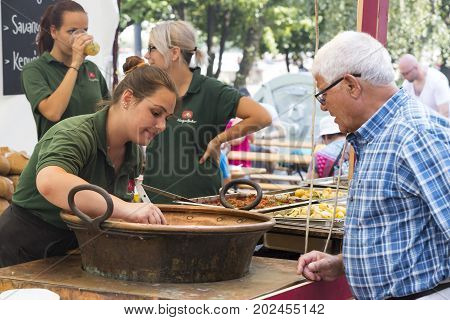 BUDAPEST, HUNGARY - AUGUST 19, 2017: Traditional folk fair in honor of Saint István and the first bread in Hungary with folk masters. Budapest. Hungary