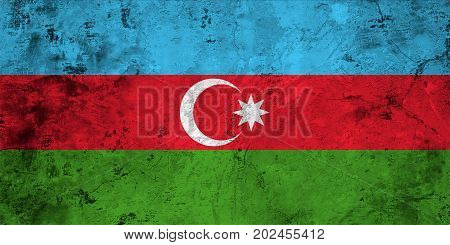 Flag of the Azerbaijan against the background of the stone texture