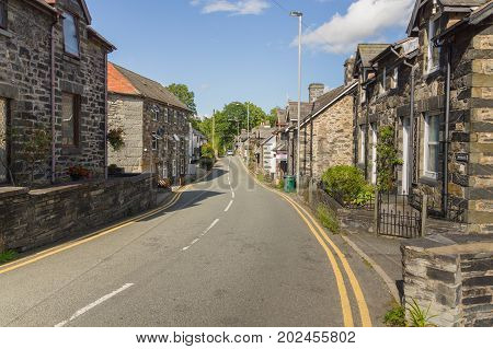 Betws y Coed Wales UK - August 15 2017: Old houses in the Welsh village of Betws-y-Coed. The village is located in the Conwy Valley and is a major outdoor sport and tourist destination