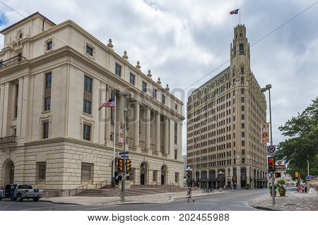 San Antonio Texas - June 5 2014: Street scene with building and people in the downtown of the city of San Antonio in Texas USA