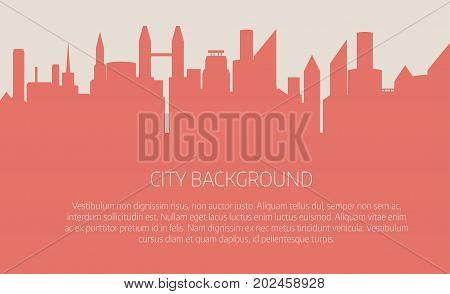 City skyline vector illustration. Urban landscape. Pink city silhouette. Cityscape in flat style. Modern city landscape.
