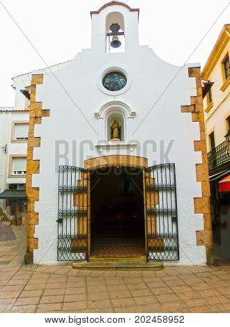 The church at Tossa de Mar old town Vila Vella in Costa Brava of Catalonia masonry stone at Spain