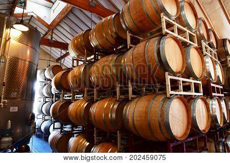 America; San Luis Obispo; Usa - July 15 2016 : Barrel In The Cellar Of The Claiborne And Churchill W