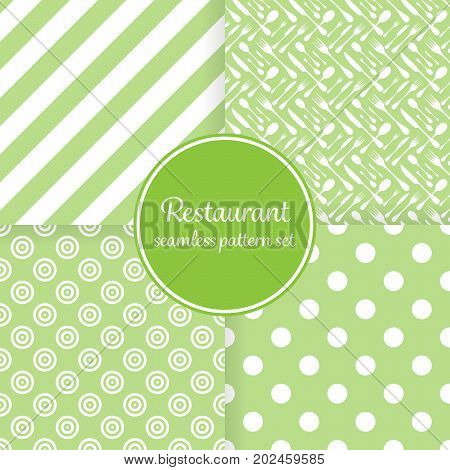 Restaurant or bistro theme. Lush green stripes, dots, cutlery and other shapes. Seamless vector pattern background set.