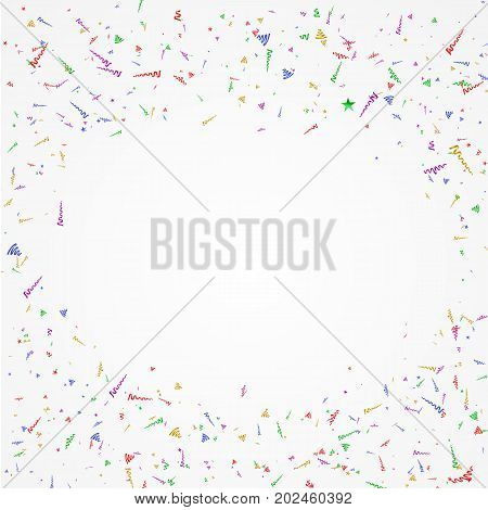 Colorful Confetti And Streamers. Holiday Vector Background