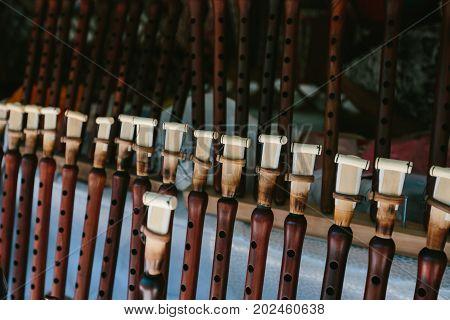 Armenian national musical instrument duduk. Flea market Vernissage Yerevan, Armenia