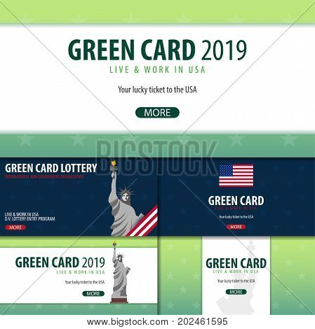 Set Of Green Card Lottery Banners. Immigration And Visa To The Usa.
