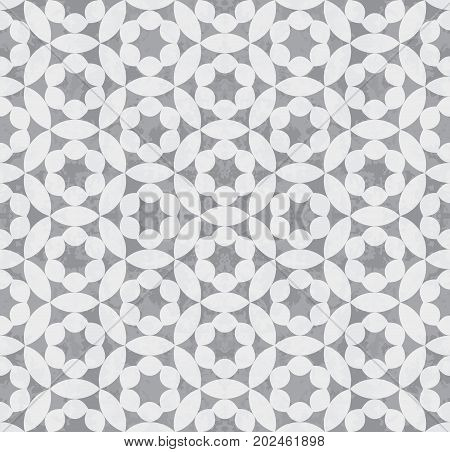 Abstract seamless geometric grey circular grunge pattern. Design element for background, backdrop, textile, cover, paper packaging, wrapping paper and other. Vector illustration.