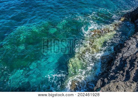 Breakwater in the rocks in La Palma Canary Islands