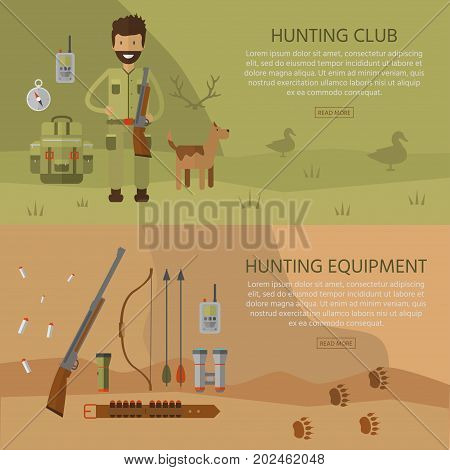 Banner of hunting equipment and gear for hunt. Vector icon collection: rifle, knife, shotgun, boots, binoculars, flashlight, lantern, compass, backpack and cartoon character.