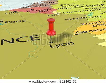 Pushpin On Lyon Map  3D Illustration