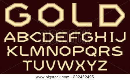A complete set of Latin letters made of gold with a matte surface. A wide angular coarse font is insulated with a dark crimson background.. Letters are made in 3D shapes. Vector illustration.