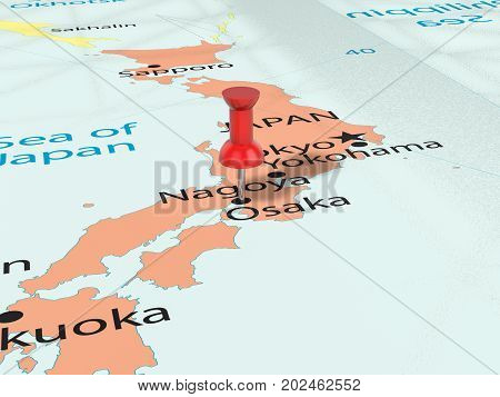 Pushpin On Osaka Map  3D Illustration