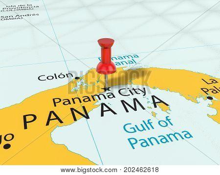 Pushpin On Panama City Map  3D Illustration