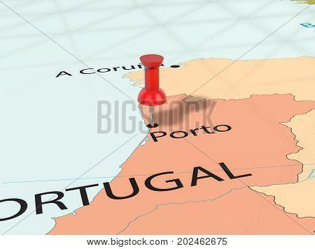 Pushpin On Porto Map  3D Illustration