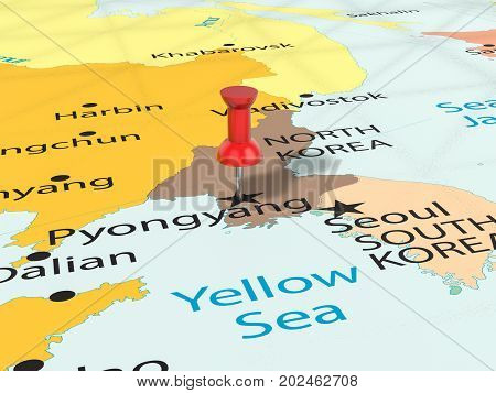Pushpin On Pyongyang Map  3D Illustration