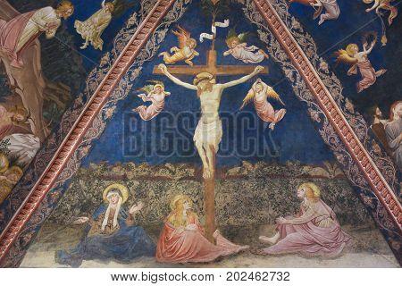Siena Baptistery - Fresco Of Jesus Christ On The Cross