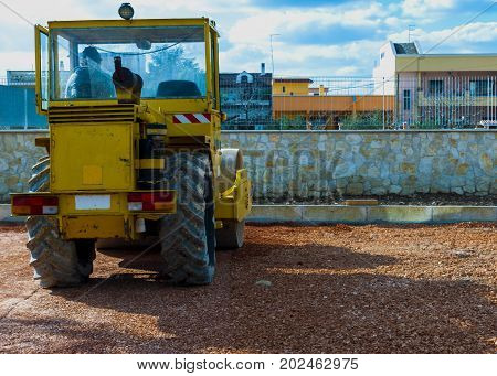 Construction site - road roller compact foundation
