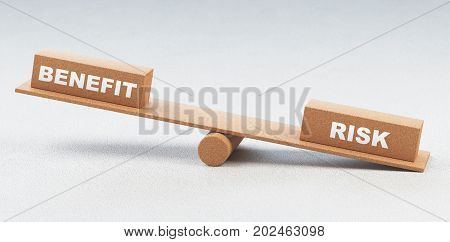 Balance with benefit and risk concept, 3d render illustration