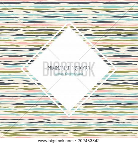 Simple flyer design. Horizontal wavy lines. Abstract background with hand drawn elements. Plain concept for postcard, invitation or poster. Can be used as seamless pattern.