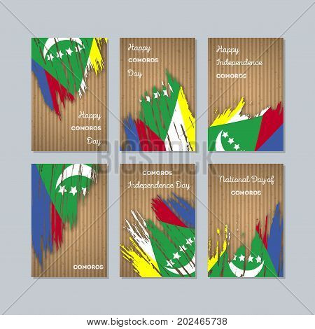 Comoros Patriotic Cards For National Day. Expressive Brush Stroke In National Flag Colors On Kraft P