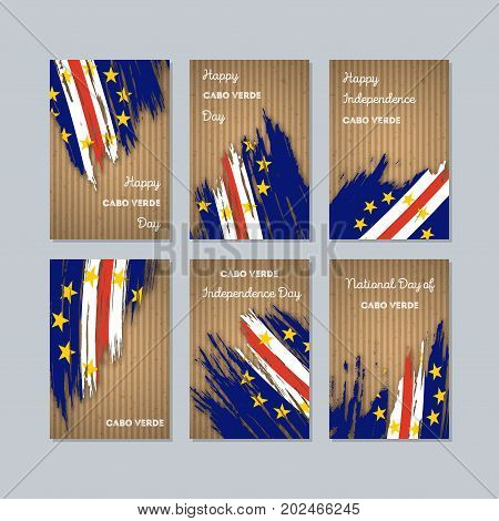 Cabo Verde Patriotic Cards For National Day. Expressive Brush Stroke In National Flag Colors On Kraf