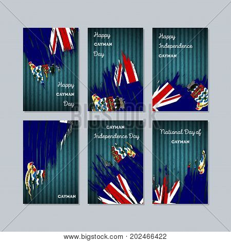 Cayman Patriotic Cards For National Day. Expressive Brush Stroke In National Flag Colors On Dark Str