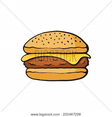 Vector illustration. Cheeseburger with meat and cheese. Image in cartoon style with contour. Unhealthy food. Isolated on white background