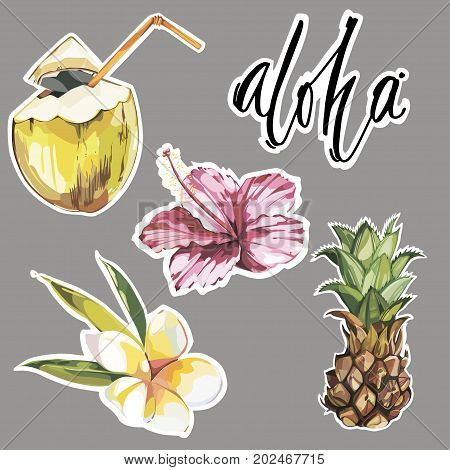 Aloha. Set of cute tropical stickers with flowers, coconut and pineapple. Cute stickers, patches or pins collection. Tropical vibes stickers set