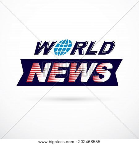 World news inscription vector illustration. News and facts reporting .