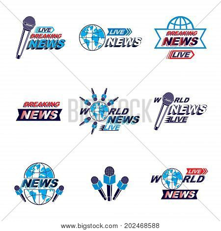 Social mass media logo emblems and poster vector templates collection. Blue Earth journalistic microphones composed with news breaking news and live news writings.
