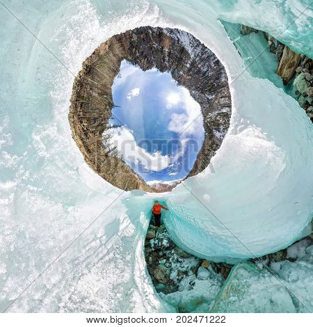 Female Inside The Crack In The Ice Glaciers Iceland. Spherical 360 180 Panorama Of Little Planet