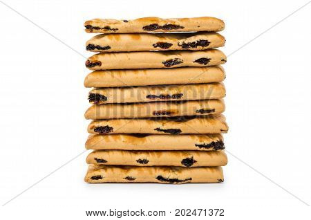 Stack Of Cookies With Raisin Isolated On White