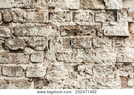Texture Of An Old Ruined Brick Wall Of An Ancient Building