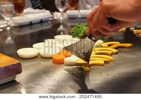 Japanese Chef Deliberately Preparing