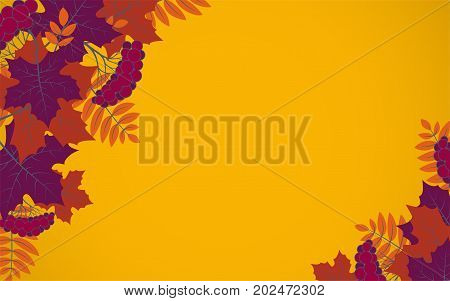 Autumn floral background with colorful silhouettes of tree leaves on yellow background design elements for the fall season banner poster flyer or greeting card vector illustration