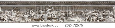 Paris; France- May 01; 2017:The triumphal arch.On the walls there are battles. Battle of Jemapp