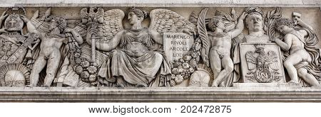 Paris; France- May 01; 2017: Triumphal arch on the Champs Elysees.Sculpture decoration