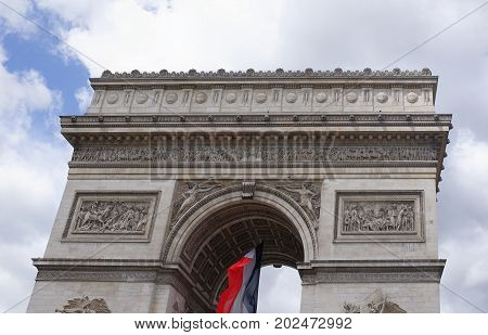 Paris; France- May 01; 2017: Triumphal arch on the Champs Elysees