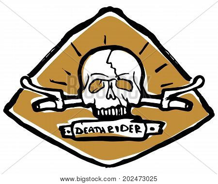 Emblem, sticker scull, helm or steering on back side. Death rider text on ribbon