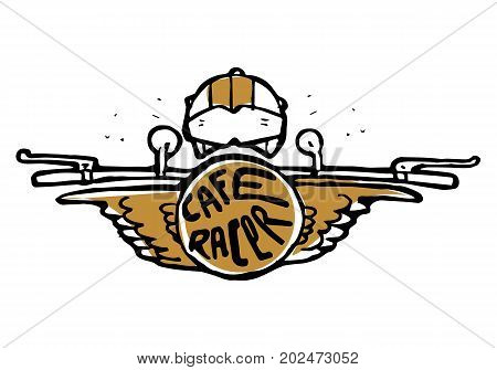 Emblem, sticker, bike helm, helmet on top. Cafe racer text in round with wings