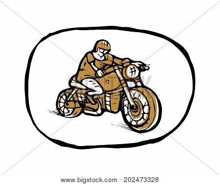Emblem or sticker, biker, cyclist on bike