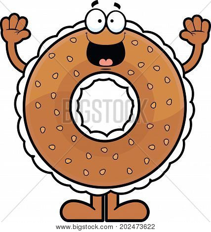 Cartoon illustration of a cream cheese filled bagel with a happy expression.