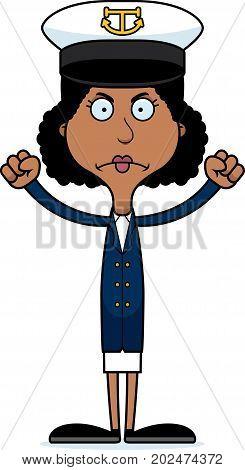 Cartoon Angry Boat Captain Woman