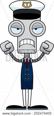 Cartoon Angry Boat Captain Robot