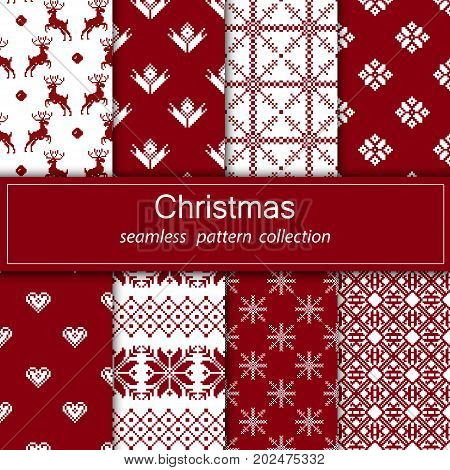Set of seamless fabric. Eight canvases. The occasion. Merry Christmas and happy New year. Pixels. White and red color.Gift wrapping, pattern, ornament, background website. Stock vector.
